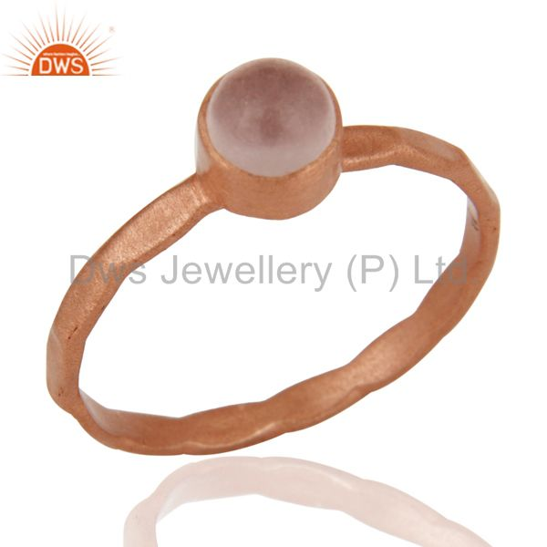 18K Rose Gold Plated Sterling Silver Chalcedony Gemstone Stacking Ring