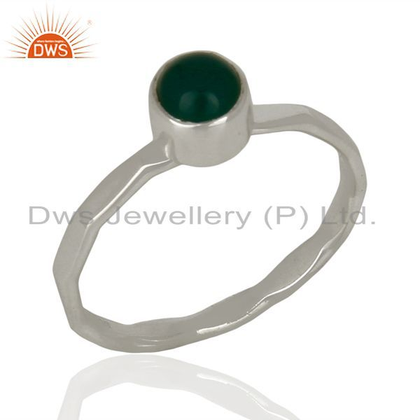 Natural Green Onyx Gemstone 925 Sterling Fine Silver Ring Jewelry
