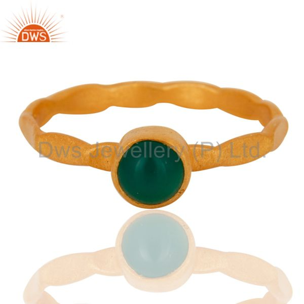 Handmade 18K Gold Plated 925 Sterling Silver Green Onyx Gemstone Stacking Ring
