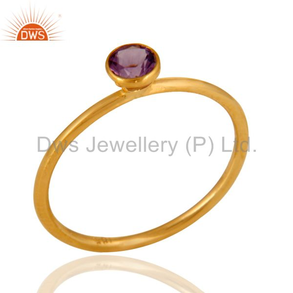 18K Solid Yellow Gold Genuine Amethyst Gemstone Engagement  Stackable Ring