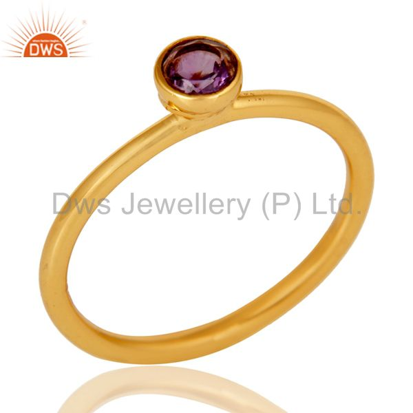 18K Yellow Gold Plated Sterling Silver Amethyst Engagement Stackable Ring