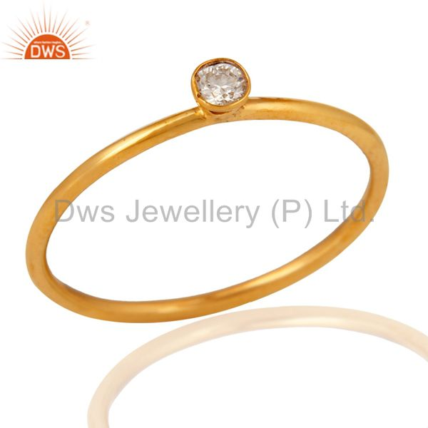 18K Solid Yellow Gold Natural White Diamond Engagement Stacking Ring