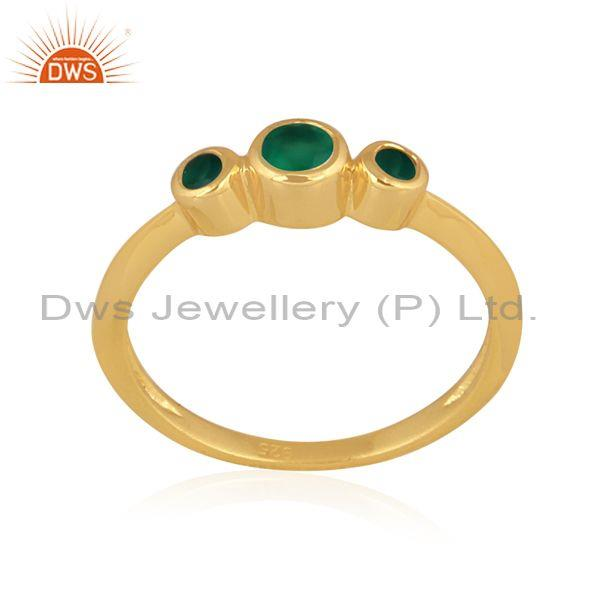 Green onyx set gold sterling silver classic designer ring