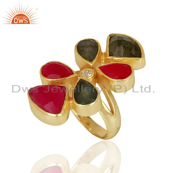 Natural Labradorite And Dyed Pink Chalcedony Gold Plated Statement Ring