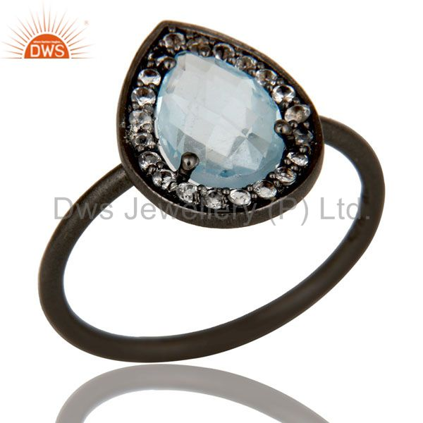 Oxidized Sterling Silver Blue Topaz And White Topaz Stacking Ring