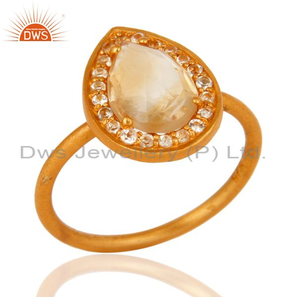 18K Gold Plated Sterling Silver Natural Citrine And White Topaz Stacking Ring