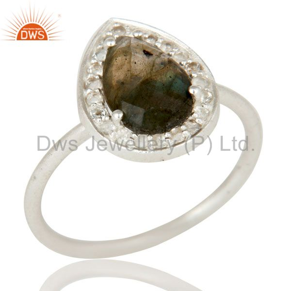 925 Sterling Silver Blue Fire Labradorite And White Topaz Stackable Ring