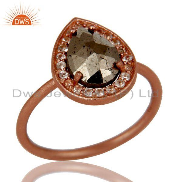 18K Rose Gold Plated Sterling Silver Pyrite And White Topaz Stackable Ring