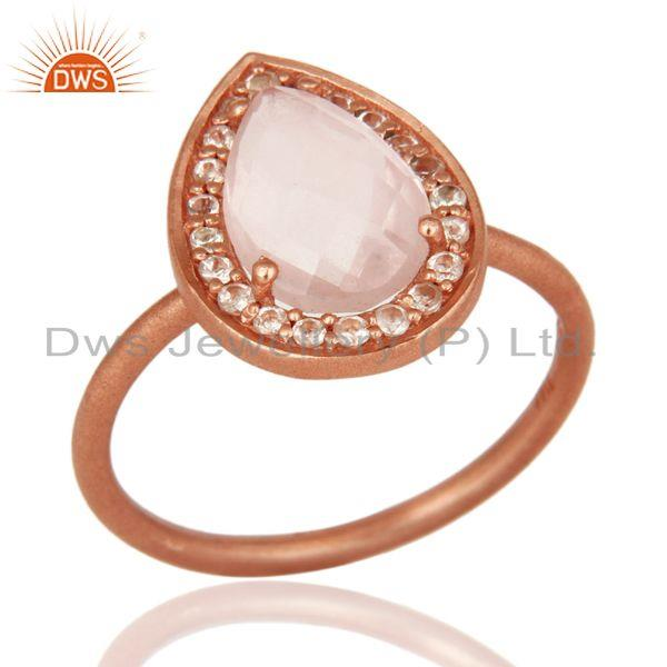 18K Rose Gold Plated Sterling Silver Rose Quartz And White Topaz Stack Ring