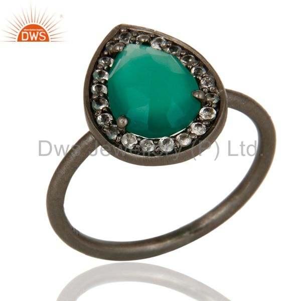 Oxidized Sterling Silver Green Onyx And White Topaz Stacking Ring