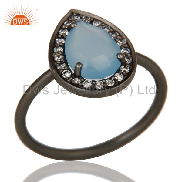 Black Oxidized Sterling Silver Chalcedony And White Zircon Stacking Ring