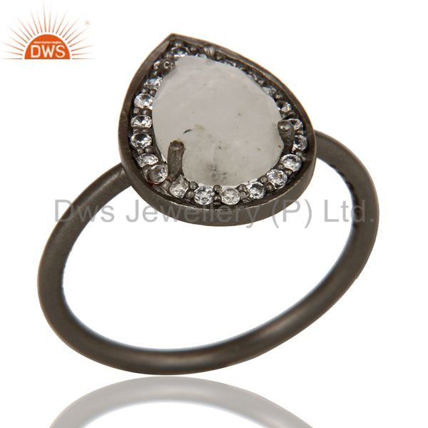 Oxidized Sterling Silver Moonstone And White Zircon Stacking Ring