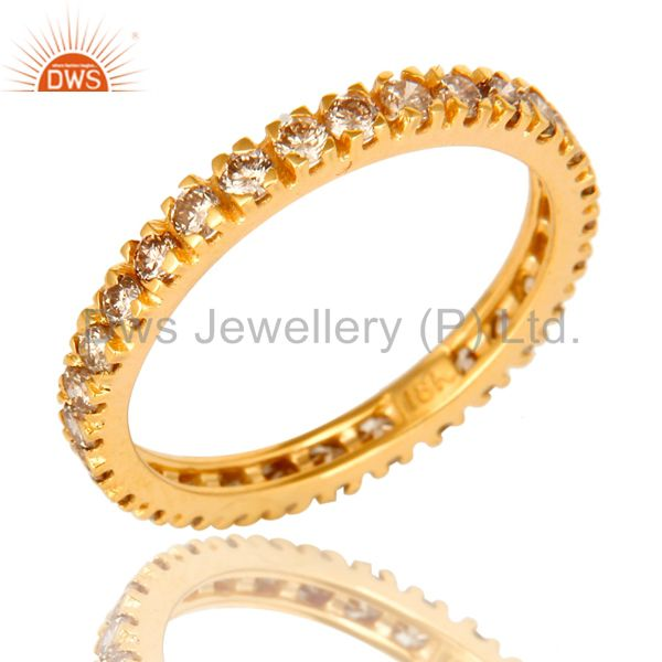 Natural Pave Set Diamond Eternity Band set in Solid 18K Yellow Gold