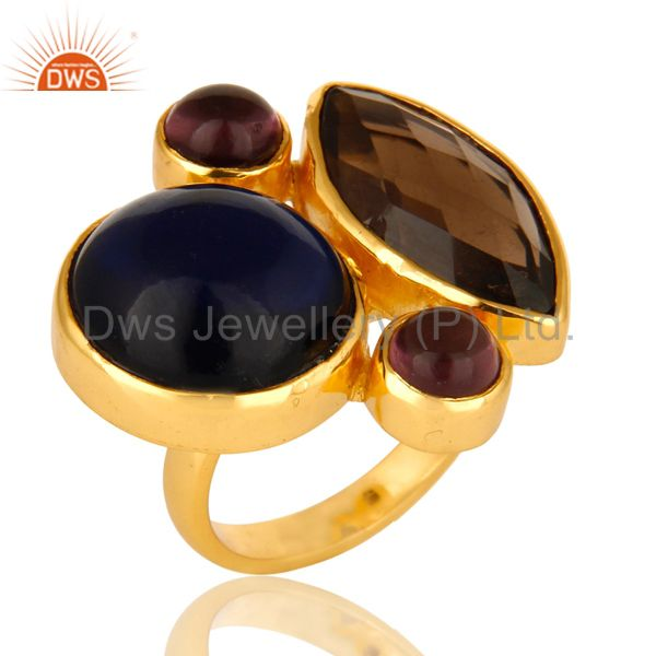 18K Gold Plated Blue Corundum, Hydro Amethyst And Smoky Quartz Cocktail Ring