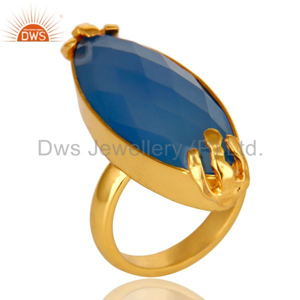 18K Yellow Gold Plated Aqua Blue Chalcedony Bezel Set Statement Ring