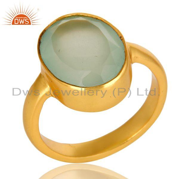 Dyed Aqua Blue Chalcedony Gemstone Bezel Set 14K Yellow Gold Plated Ring