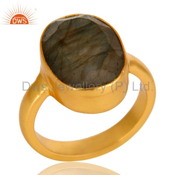 Natural Labradorite Gemstone Statement Ring In 14K Yellow Gold On Brass