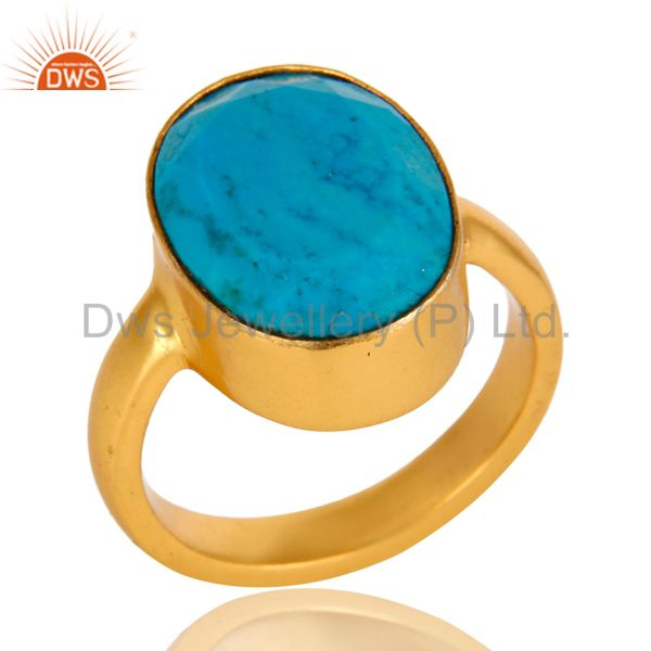 14K Yellow Gold Plated Brass Turquoise Gemstone Bezel Set Statement Ring