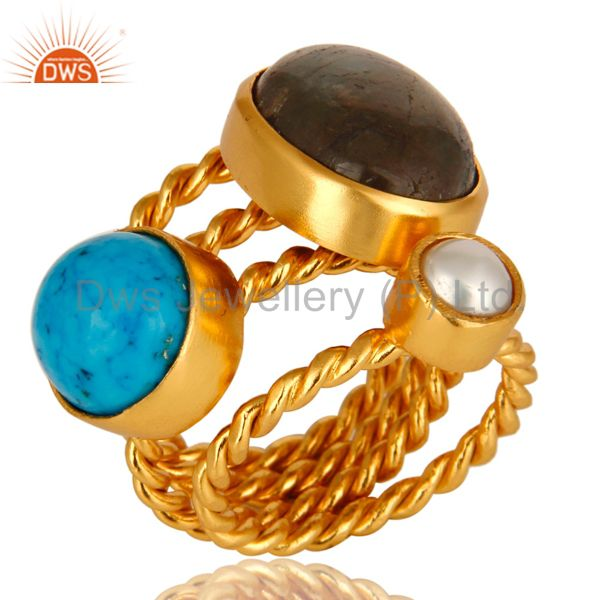 Turquoise, Labradorite And White Pearl 14K Yellow Gold Plated Ring
