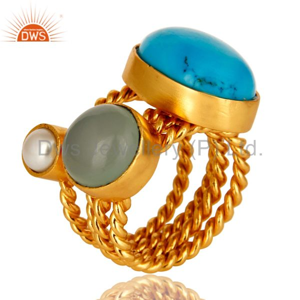 Turquoise, Blue Chalcedony And White Pearl Gold Plated Twisted Ring 3 Pcs Set