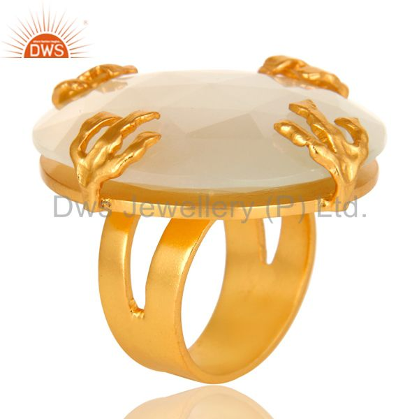 24K Yellow Gold Plated Brass Prong Set White Moonstone Cocktail Ring
