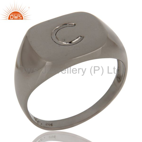 Black Rhodium Plated Sterling Silver Engraved C Letter Square Mens Ring