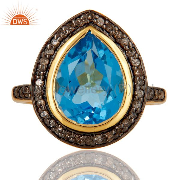 18k Gold Plated Sterling Silver Design Ring with Blue Topaz & Diamond