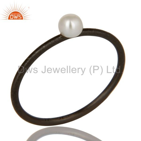 Oxidized 925 Solid Sterling Silver Natural White Pearl Stackable Ring