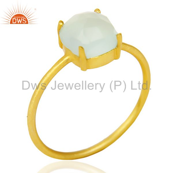 Aqua chalcedony Cushion Cut 14K Gold Plated Ring-March Brithstone