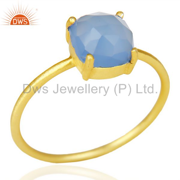 Blue Chalcedony Cushion Cut 14K Gold Plated Ring-December Brithstone