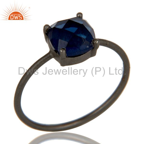 Oxidized Sterling Silver Blue Corundum Prong Set Gemstone Stacking Ring