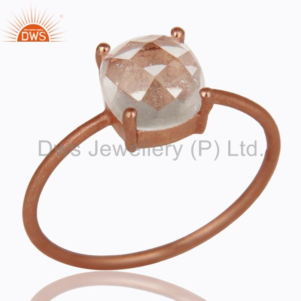 18K Rose Gold Plated Sterling Silver Crystal Quartz Prong Set Stacking Ring