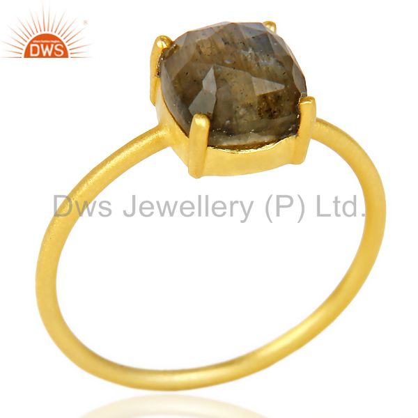 Natural Labrodorite Cushion Cut 14K Gold Plated Ring In Solid Sterling Silver