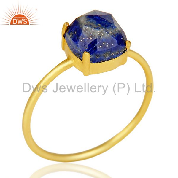 Lapis Cushion Cut 14K Gold Plated Ring-December Brithstone
