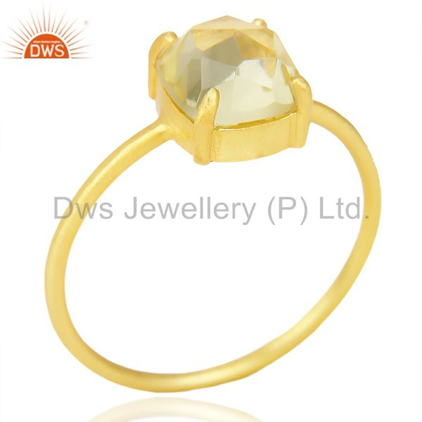 Lemon Topaz Cushion Cut 14K Gold Plated Sleek Ring In Solid Sterling Silver