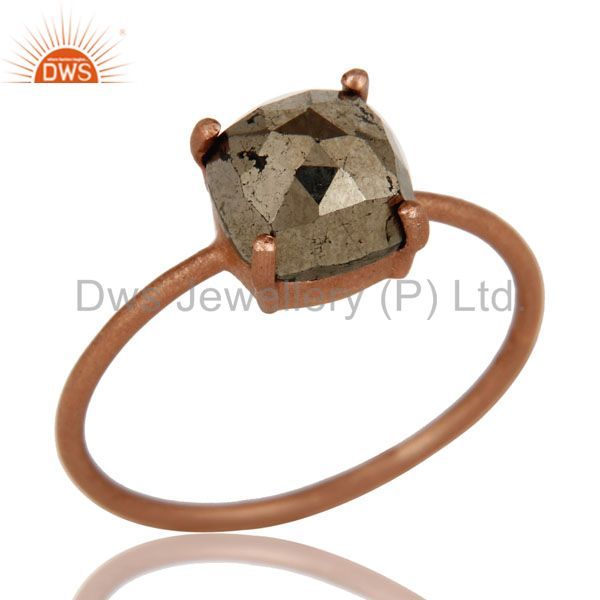 18K Rose Gold Plated Sterling Silver Golden Pyrite Prong Set Stackable Ring
