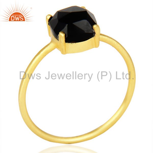 Rose Cut Black Onyx Stackable 14K Yellow Gold Plated 925 Sterling Silver Ring