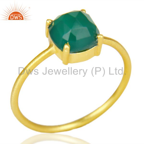 Green Onyx Cushion Cut 14K Gold Plated Sleek Ring In Solid Sterling Silver