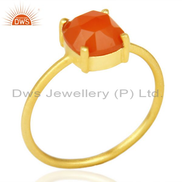 Red Onyx Cushion Cut 14K Gold Plated Sleek Ring In Solid Sterling Silver