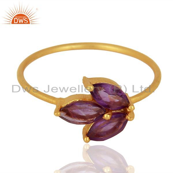 Amethyst Prong Set 14K Gold Plated 925 Sterling Silver Ring Gemstone Jewelry