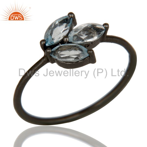 Oxidized Sterling Silver Blue Topaz Gemstone Prong Set Stacking Ring