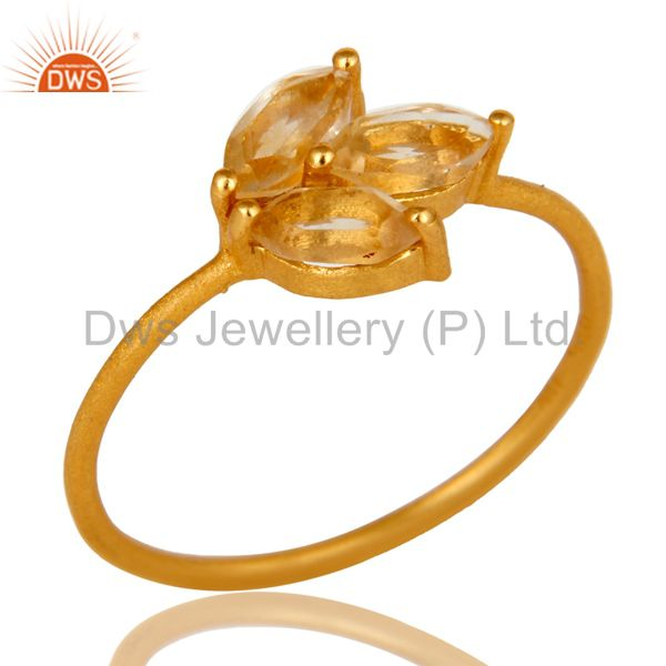 18K Yellow Gold Plated Sterling Silver Citrine Prong Set Gemstone Stackable Ring
