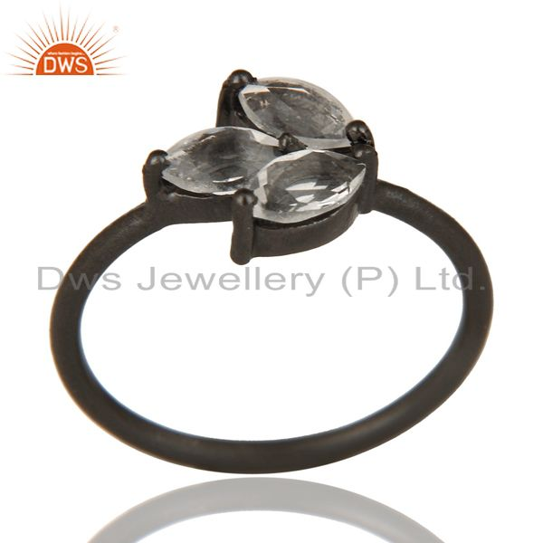Black Oxidized 925 Sterling Silver Citrine Prong Set Gemstone Stackable Ring