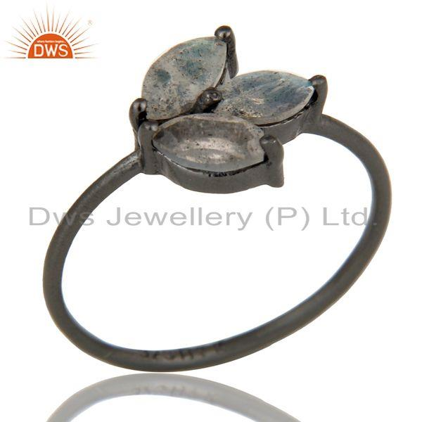 Black Oxidized Sterling Silver Labradorite Prong Set Stackable Ring