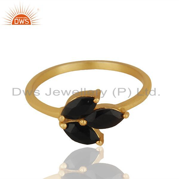 Black Onyx Prong Set Gemstone 925 Silver Gold Plated Women Rings