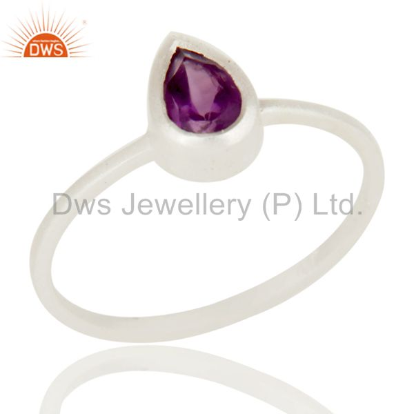 Traditional Solid Sterling Silver Amethyst Gemstone Little Stacking Ring