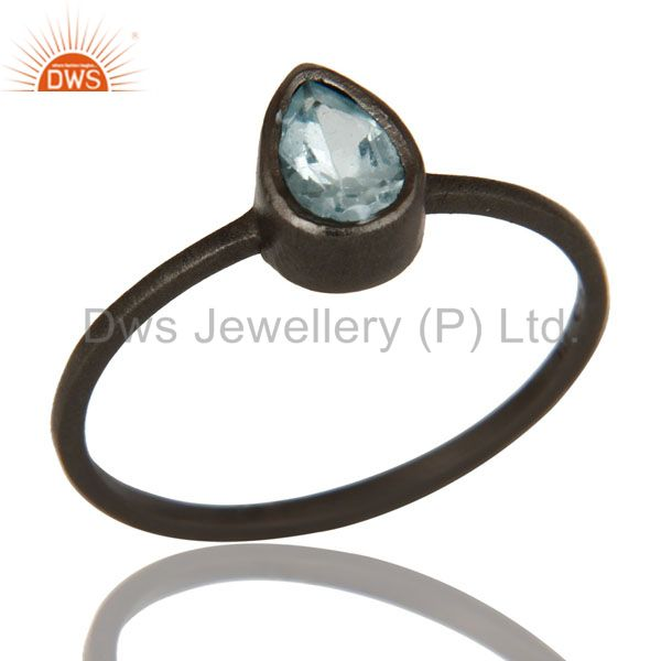 925 Sterling Silver With Oxidized Blue Topaz Gemstone Stackable Ring