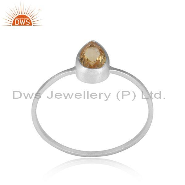 Pear Cut Citrine Designer Sterling Fine Silver Girls Ring