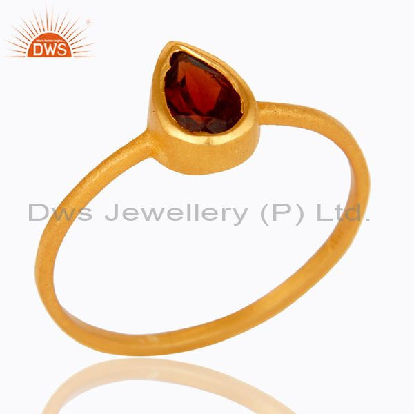 18K Yellow Gold Plated Sterling Silver Garnet Gemstone Stacking Ring