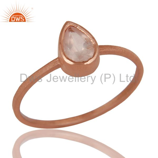 14K Rose Gold Plated Sterling Silver Rose Quartz Gemstone Stackable Ring